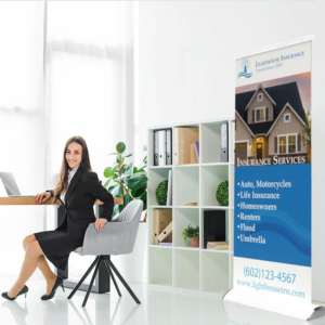 Deluxe Retractable Banner Stand in Office
